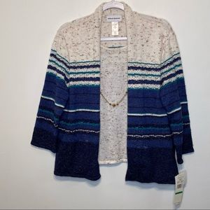New! Alfred Dunner 2-In-1 Layered Sweater Cardigan With Detachable Necklace